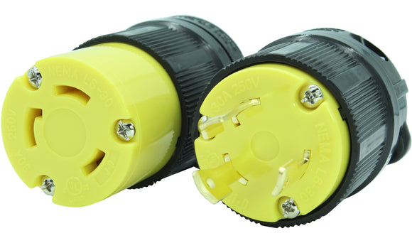 NEMA L6-20 Plug and Connector Set Industrial Grade Black/Yellow L6-20P L6-20R HJP-2321 HJP-2323