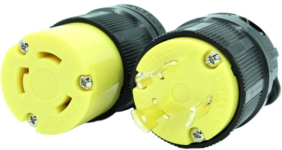 NEMA L5-30 Plug and Connector Set Industrial Grade Black/Yellow L5-30P L5-30R HJP-2611 HJP-2613