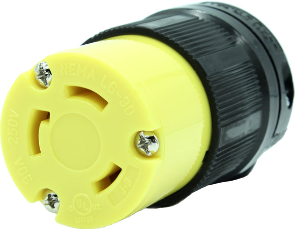 NEMA L6-30R 30A 250V Locking Female Receptacle Plug Industrial Grade 3 Prong HJP-2623