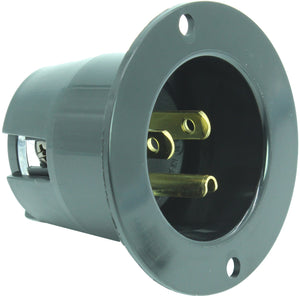 15 AMP - 125 VOLT FLANGED POWER INLET PLUG (NEMA 5-15P) 5-15FI Black/White