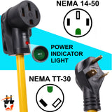 RV 30Amp Male To 50Amp Female Camper Power Cord Plug Adapter Cable NEMA TT-30P to L14-50R (30M/50F)