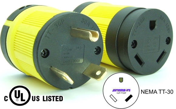 NEMA TT-30 Plug and Connector Set Industrial Grade Black/Yellow TT-30P TT-30R