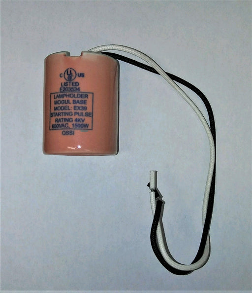 ( QSSI - CPLH30 ) PORCELAIN MOGUL BASE EXTENDED LAMP HOLDER / SOCKET STARTING PULSE RATING OF 4KV - 600V - 1500W WITH 12IN 18AWG LEADS OPEN RATED MOUNTING