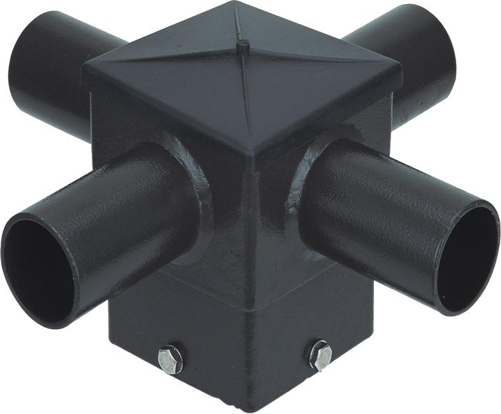 ( DURAGUARD - POLEACC034 ) QUAD SQUARE HORIZONTAL TENON AT 90 DEGREES FOR 4IN SQUARE POLE WITH BRONZE FINISH