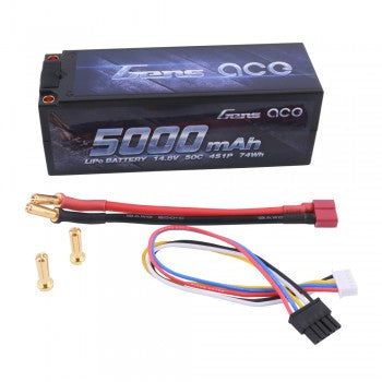 Gens Ace - 5000mAh 14.8V 50C 4S1P HardCase Lipo Battery 50# with 5.00mm bullet to Deans plug - The R/C House