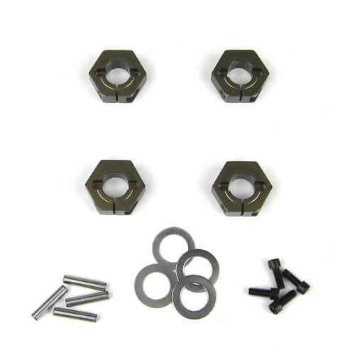 Tekno – Wheel Hexes (12mm, clamping, aluminum, 4pcs) - The R/C House