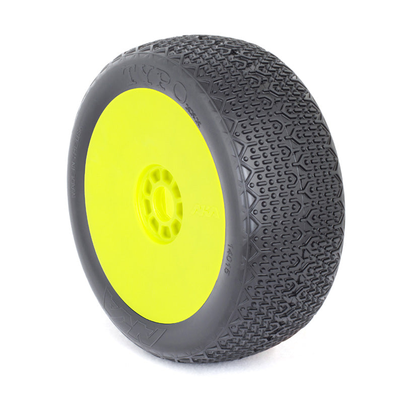 AKA -1/8th BUGGY TYPO (SOFT) EVO WHEEL PRE-MOUNTED YELLOW - The R/C House