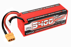 Corally - 5400mAh 14.8v 4S 50C Hardcase Sport Racing LiPo Battery with Hardwired XT90 Connector - The R/C House