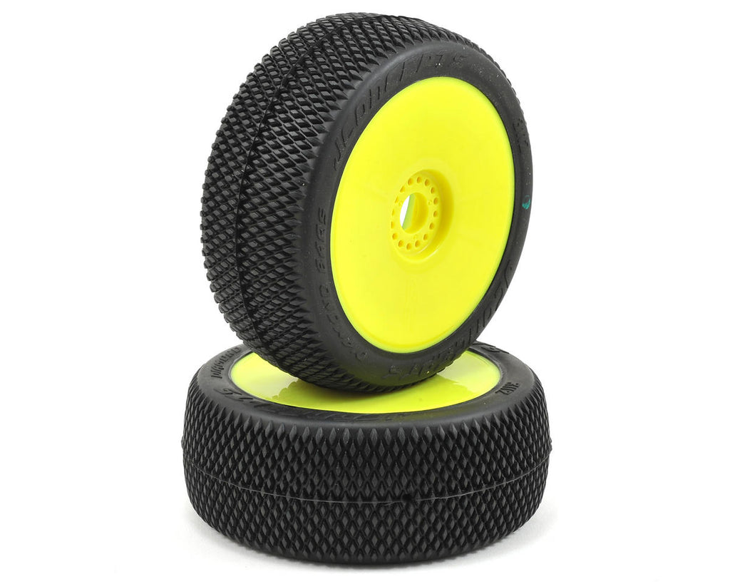 JConcepts - Diamond Bars-Green Compound Tires, Pre-Mounted on Yellow Wheels, for 1/8 Buggy (2) - The R/C House
