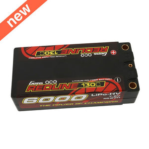 Gens Ace - Redline Series 6000mAh 7.6V 130C 2S2P HardCase HV Shorty Lipo Battery - The R/C House