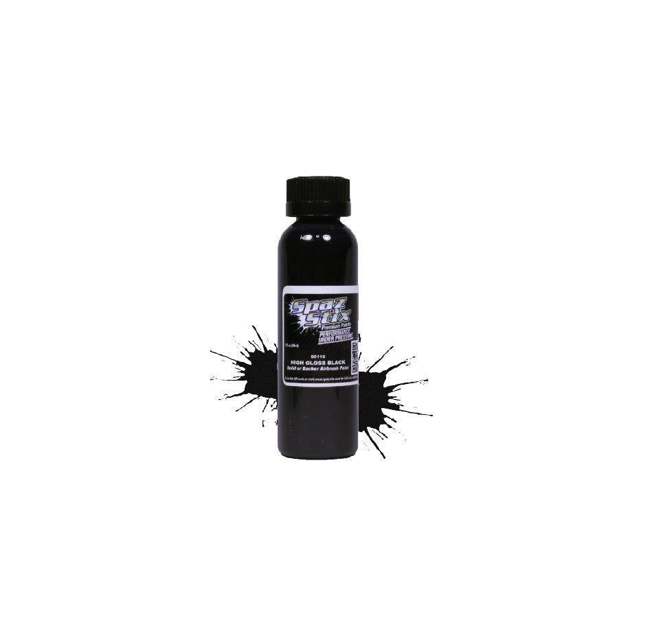 Spaz Stix - High Gloss Black/Backer, Airbrush Ready Paint, 2oz Bottle