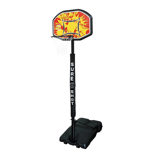 Sure Shot Adjustable Basketball Stand With Padded Pole and Coloured Backboard