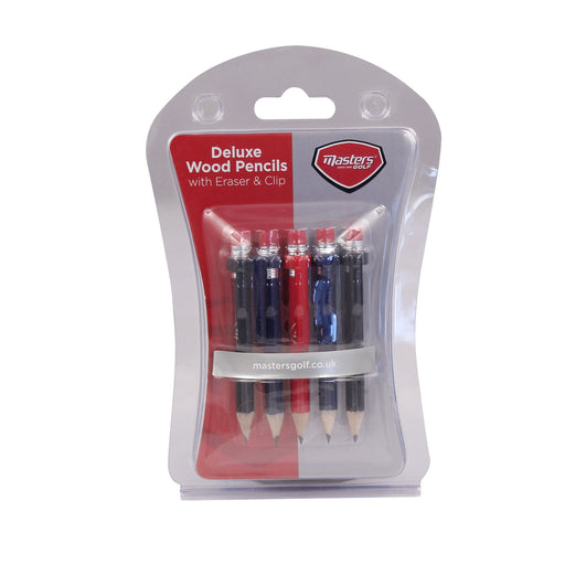 Masters Wood Pencils with Clip & Eraser X 5