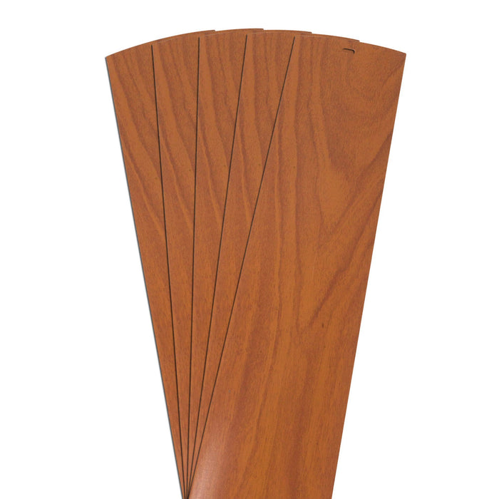 "DALIX Wood Grain Vinyl Vertical Window Blinds Replacements Pecan 5 Pack Blinds DALIX Pecan 10.5"" Inches Height"