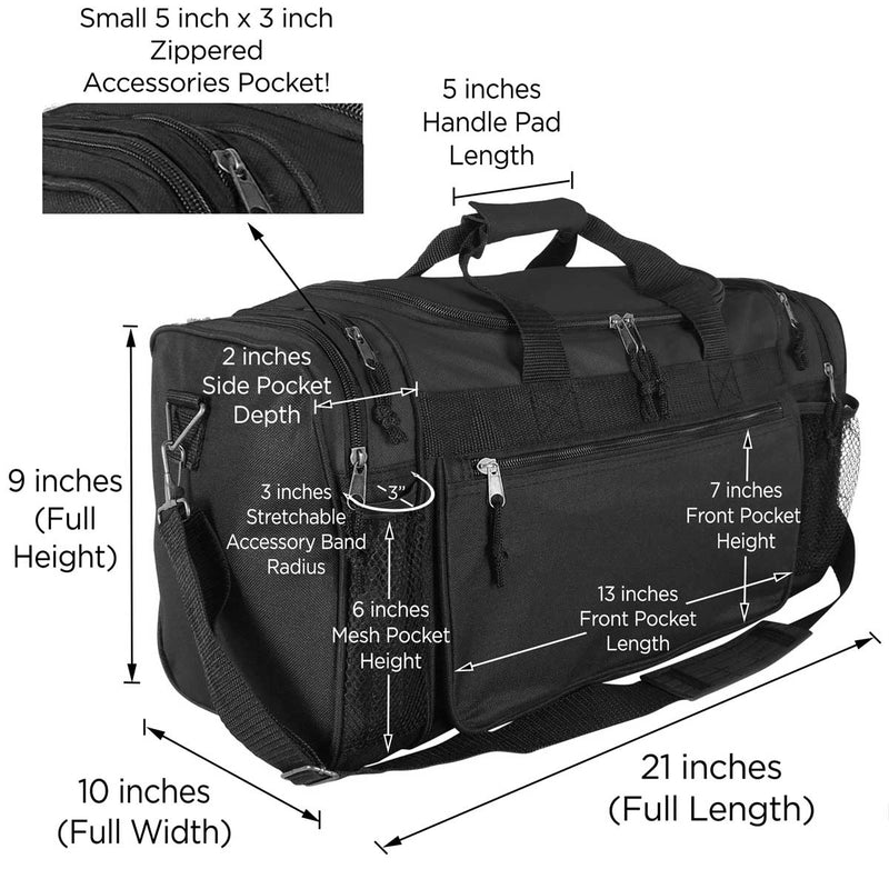 "DALIX 20"" Sports Duffel Bag with Mesh and Valuables Pockets"
