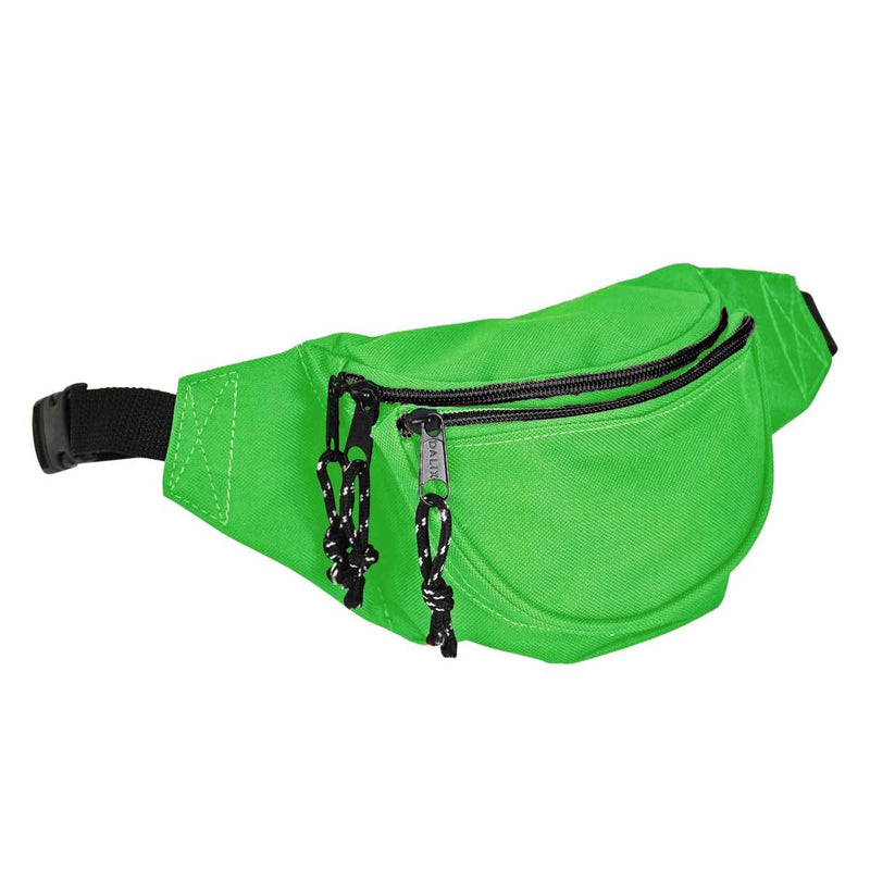 DALIX Fanny Pack w/ 3 Pockets Traveling Concealment Pouch Airport Money Bag FP-001 Fanny Packs DALIX Lime Green