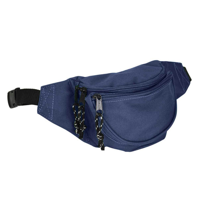 DALIX Fanny Pack w/ 3 Pockets Traveling Concealment Pouch Airport Money Bag FP-001 Fanny Packs DALIX Navy Blue