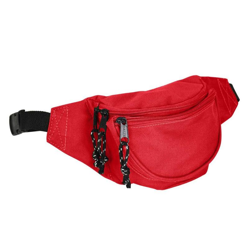 DALIX Fanny Pack w/ 3 Pockets Traveling Concealment Pouch Airport Money Bag FP-001 Fanny Packs DALIX Red