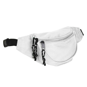 DALIX Fanny Pack w/ 3 Pockets Traveling Concealment Pouch Airport Money Bag FP-001 Fanny Packs DALIX White
