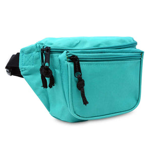 DALIX Fanny Pack Travel Belt Pouch Waist Wallet Bag w/ 3 Pockets (FP-002)