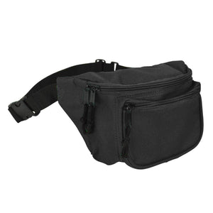 "DALIX Fanny Pack 7"" Travel Belt Pouch Waist Wallet Bag w/ 3 Pockets FP-002 Fanny Packs DALIX Black"