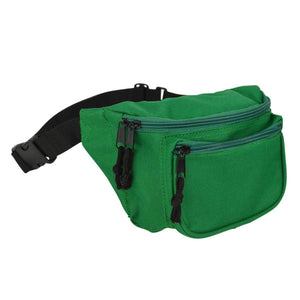 "DALIX Fanny Pack 7"" Travel Belt Pouch Waist Wallet Bag w/ 3 Pockets FP-002 Fanny Packs DALIX Green"