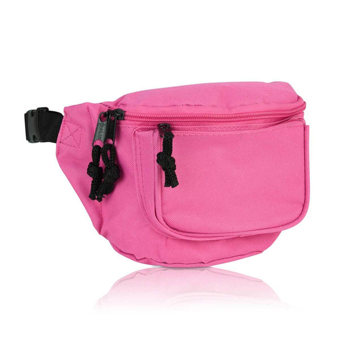 "DALIX Fanny Pack 7"" Travel Belt Pouch Waist Wallet Bag w/ 3 Pockets FP-002 Fanny Packs DALIX Hot Pink"