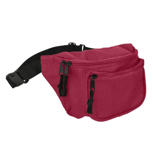 "DALIX Fanny Pack 7"" Travel Belt Pouch Waist Wallet Bag w/ 3 Pockets FP-002 Fanny Packs DALIX Maroon"