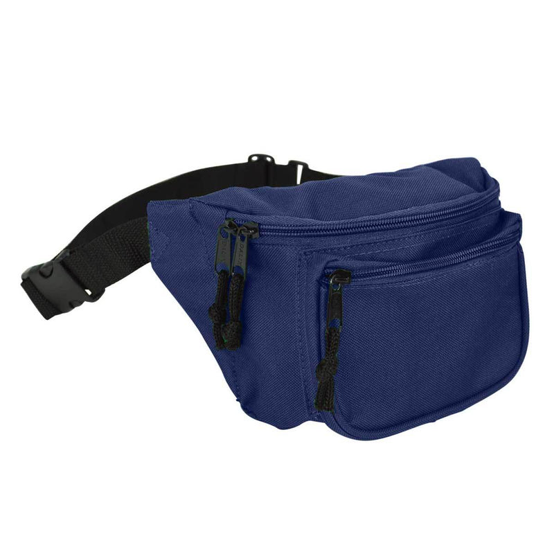 "DALIX Fanny Pack 7"" Travel Belt Pouch Waist Wallet Bag w/ 3 Pockets FP-002 Fanny Packs DALIX Navy Blue"