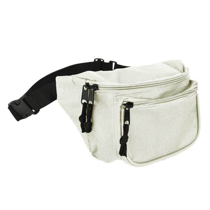 "DALIX Fanny Pack 7"" Travel Belt Pouch Waist Wallet Bag w/ 3 Pockets FP-002 Fanny Packs DALIX Nude"