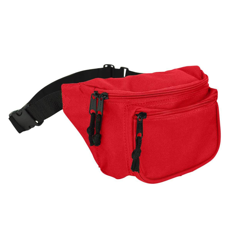 "DALIX Fanny Pack 7"" Travel Belt Pouch Waist Wallet Bag w/ 3 Pockets FP-002 Fanny Packs DALIX Red"