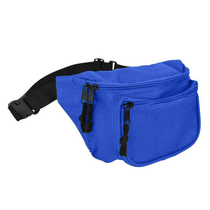 "DALIX Fanny Pack 7"" Travel Belt Pouch Waist Wallet Bag w/ 3 Pockets FP-002 Fanny Packs DALIX Royal"