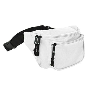 "DALIX Fanny Pack 7"" Travel Belt Pouch Waist Wallet Bag w/ 3 Pockets FP-002 Fanny Packs DALIX White"