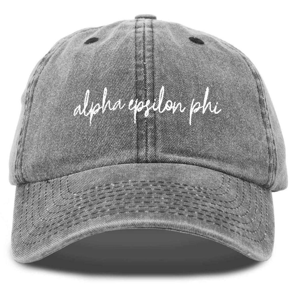 Alpha Epsilon Phi Sorority Hat Womens Cursive Embroidered Baseball Cap