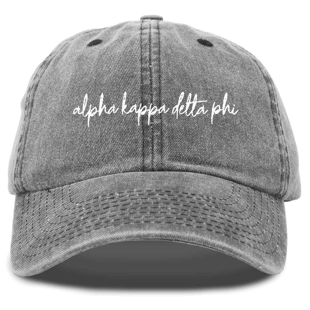 Alpha Kappa Delta Phi Cursive Sorority Hat Womens Embroidered Baseball Cap