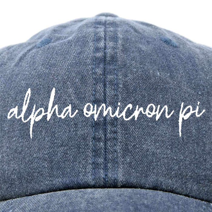 Alpha Omicron Pi Cursive Hat Fraternity Womens Embroidered Baseball Cap