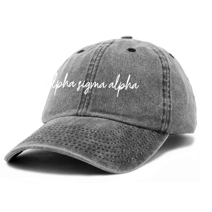 Alpha Sigma Alpha Cursive Hat Sorority Womens Embroidered Baseball Cap
