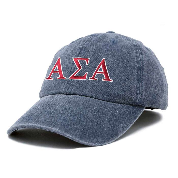 Alpha Sigma Alpha Sorority Hat Womens Greek Letters Embroidered Baseball Cap