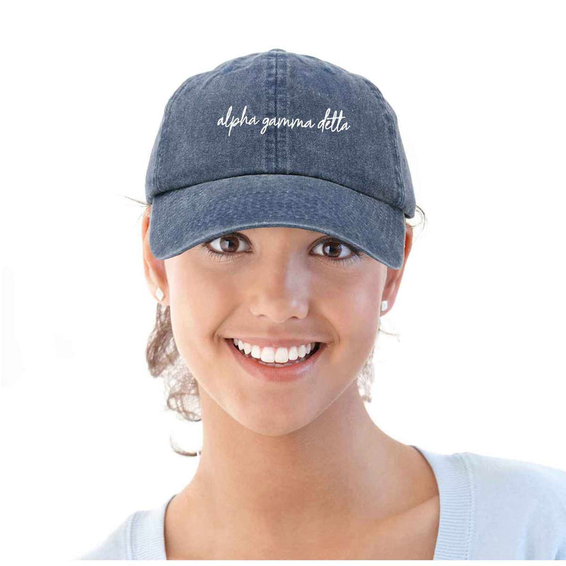 Alpha Gamma Delta Cursive Sorority Hat Womens Embroidered Baseball Cap