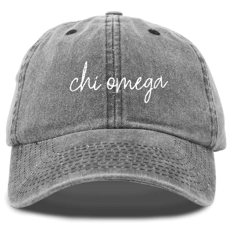 Chi Omega Cursive Sorority Hat Womens Embroidered Baseball Cap