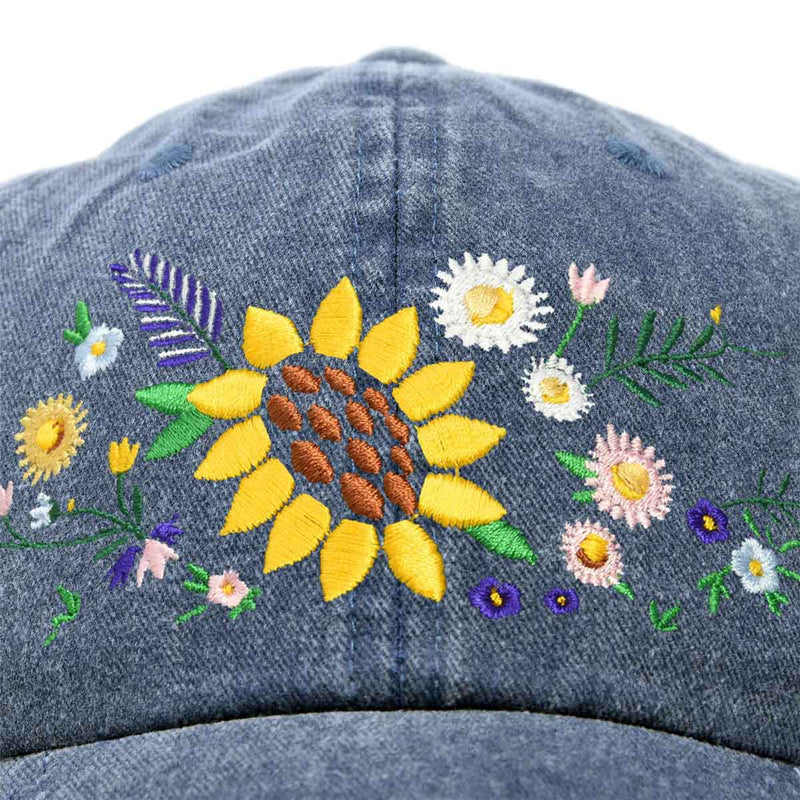 DALIX Floral Bouquet Hat Womens Premium Baseball Cap Washed