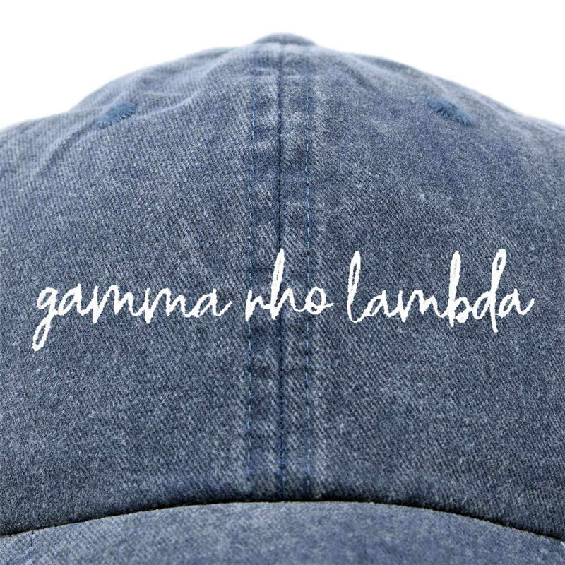 Gamma Rho Lambda Cursive Sorority Hat Womens Embroidered Baseball Cap