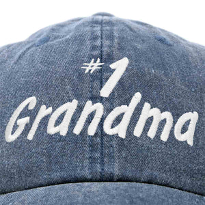 DALIX Number 1 Grandma Hat Gift Washed Cotton Baseball Cap