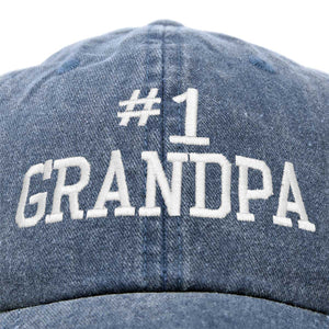 DALIX Number 1 Grandpa Gift Hat Vintage Cap Washed Cotton