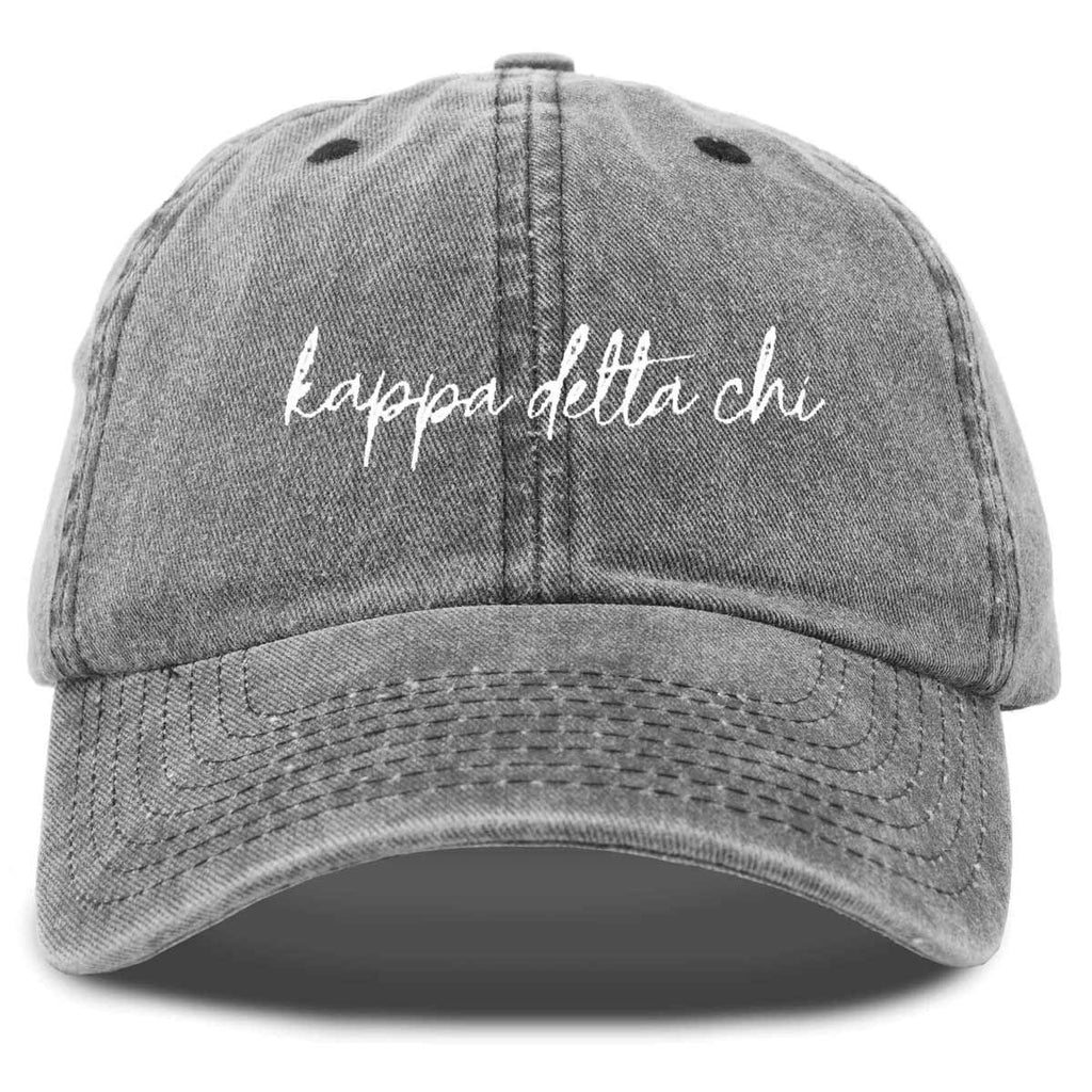 Kappa Delta Chi Cursive Sorority Hat Womens Embroidered Baseball Cap
