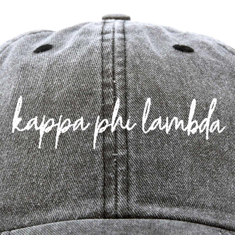 Kappa Phi Lambda Cursive Sorority Hat Womens Embroidered Baseball Cap