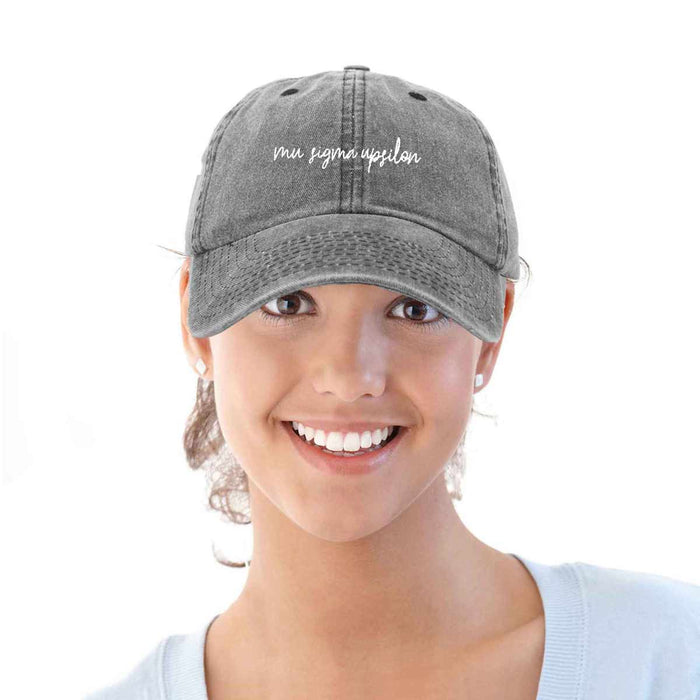 Mu Sigma Upsilon Sorority Hat Womens Cursive Embroidered Baseball Cap