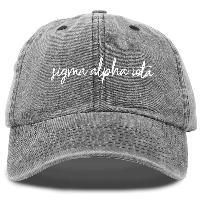 Sigma Alpha Iota Sorority Hat Womens Cursive Embroidered Baseball Cap