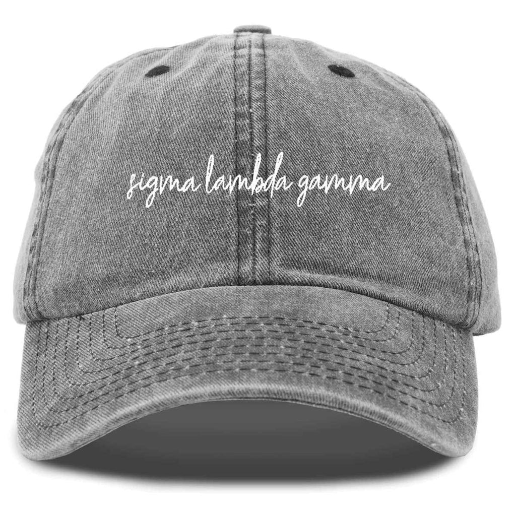 Sigma Lambda Gamma Sorority Hat Womens Cursive Embroidered Baseball Cap