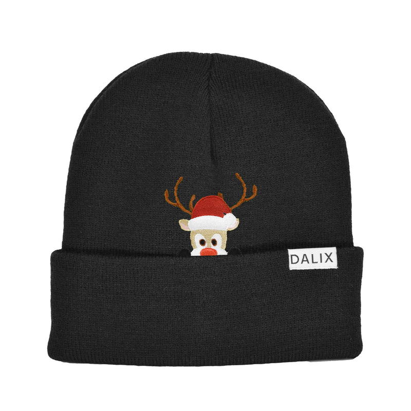 Christmas Peeping Rudolph Beanie Warm Winter Cap Embroidered Hat